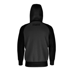 BLACK AND GRAY TORE UP RAGLAN ZIP HOODIE