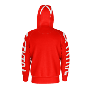 LFTXTRA RED AND WHITE ZIP UP HOODIE