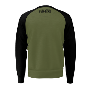CAMO GREEN TORE UP RAGLAN SWEATSHIRT