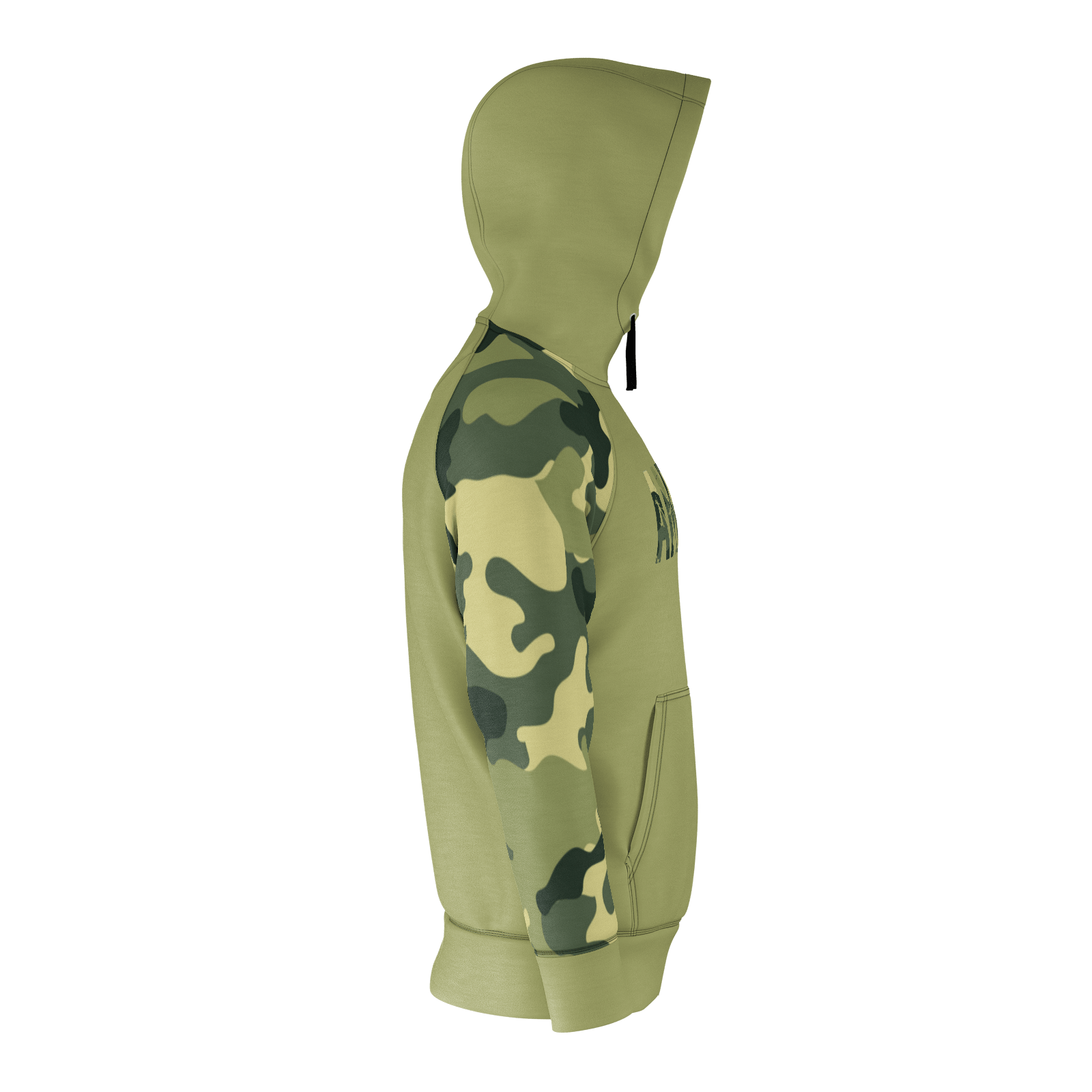ANNIHILATE GREEN AND CAMO RAGLAN HOODIE