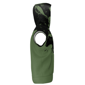 XMGYMWEAR DESTROYER OF WORLDS WARFARE GREEN SLEEVELESS HOODIE