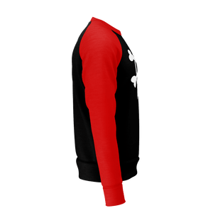 XM GYMWEAR BONES RED AND BLACK RAGLAN SWEATSHIRT