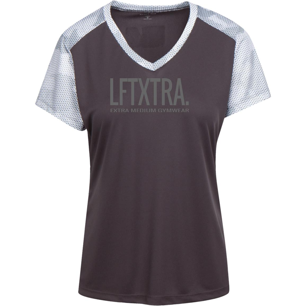 XM Gymwear LFTXTRA Ladies' CamoHex Colorblock T-Shirt