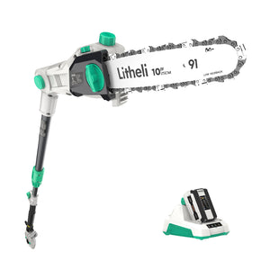 "LITHELI 40v Cordless 10"" Telescopic Pole Chainsaw Tree Cutter Pruner Kit"