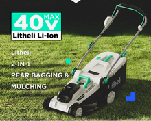 "Load image into Gallery viewer, LITHELI 18"" 40V Cordless BRUSHLESS Lawn Mower 2 Batteries Kit"