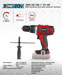 MATRIX 20v X-ONE Cordless Impact Hammer Drill Skin Only