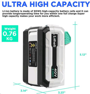 LITHELI 40v Lithium-ion Battery 2.5Ah power garden tools