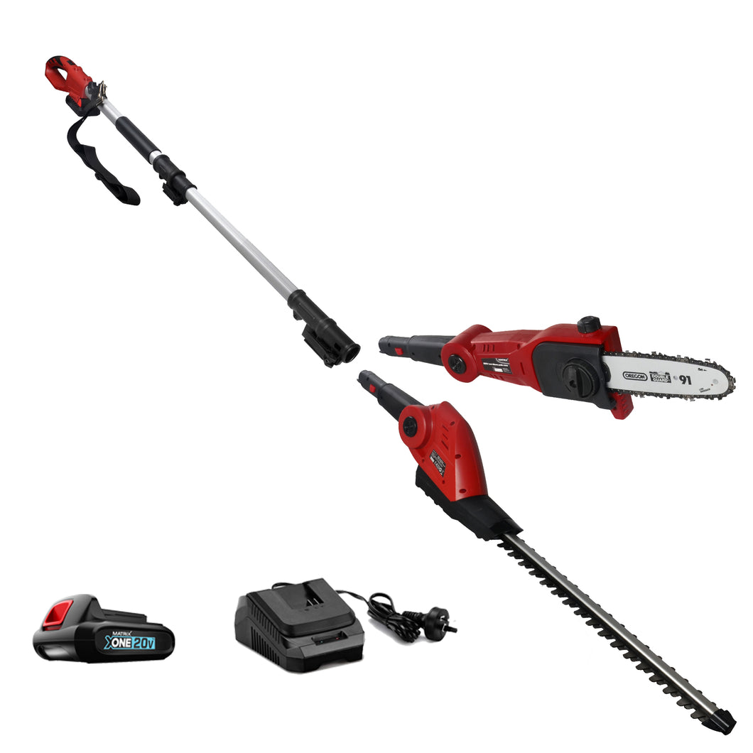 20V X-ONE Cordless Lithium pole chainsaw hedge trimmer 2in1 Combo - MATRIX Australia