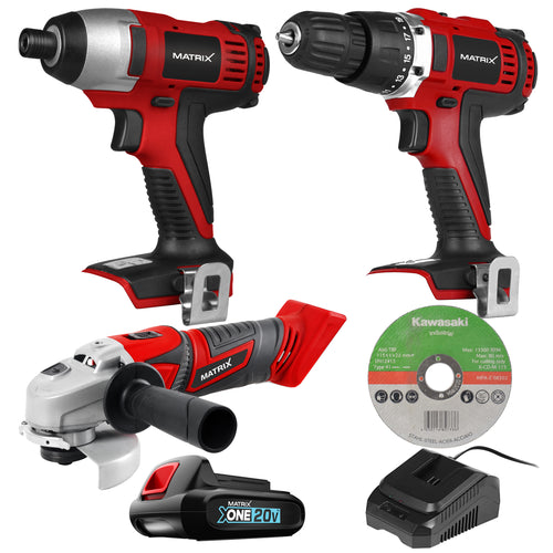 MATRIX 20V X-ONE Drill Impact Driver Angle Grinder Combo Kit