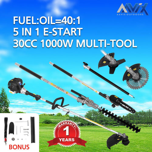 AAVIX 30CC 5in1 Petrol multi-function Chainsaw Hedge Trimmer Grass Trimmer