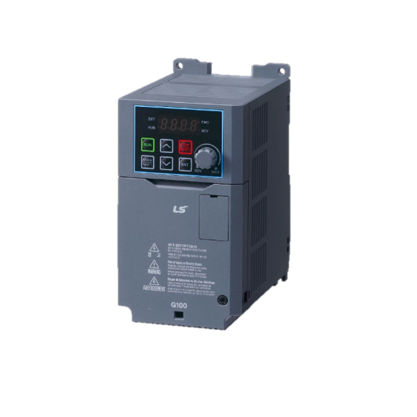 The optimum choice for its strong sensorless vector functionality, enhanced performance, and promising quality that satisfy high reliability standards. The G100 drive is the solution for you. Its dual rating enables a wide variety of applications for the drive, and the user-friendly design makes it convenient to install, control, and maintain.