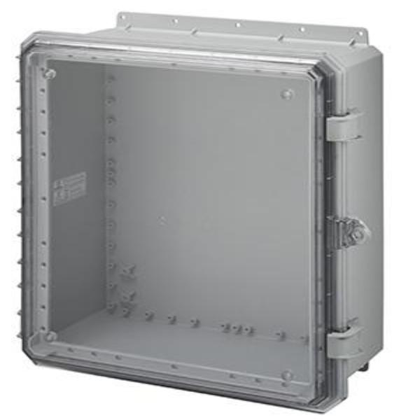 Genesis Series Polycarbonate Enclosure with Hinge Clear Non-Metallic Locking Latch Cover