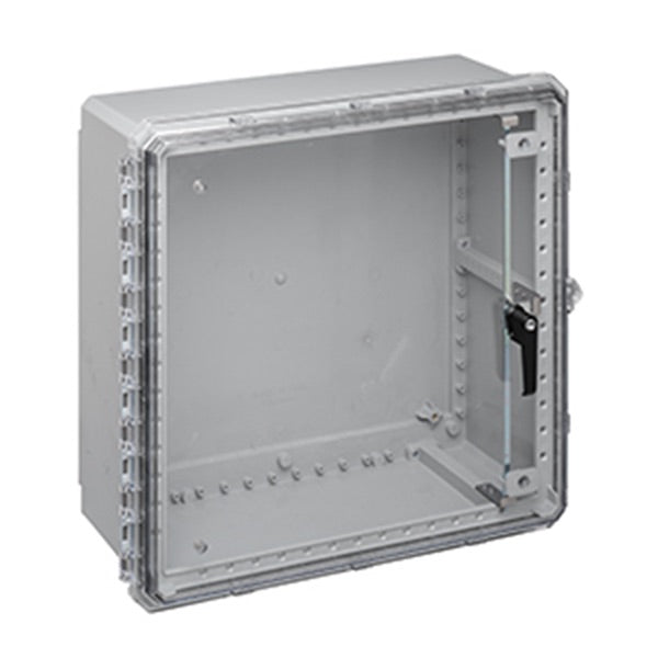 Genesis Series Polycarbonate Enclosure with Hinge Clear Non-Metallic 3pt Locking Latch Cover