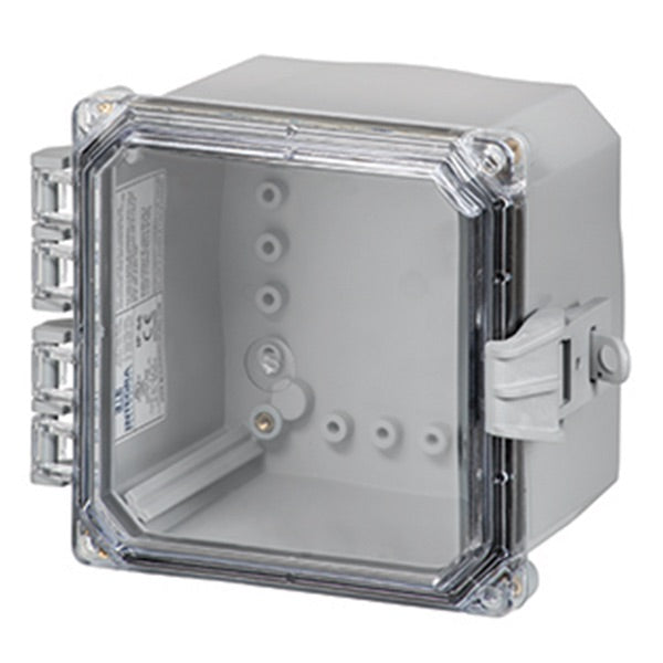 6X6X4 Premium Series Polycarbonate Enclosure with Hinge Clear Non-Metallic Locking Latch Cover