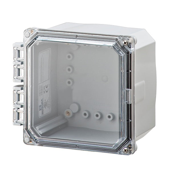 6X6X4 Premium Series NEMA 6P Polycarbonate Enclosure with Hinge Clear Screw Cover