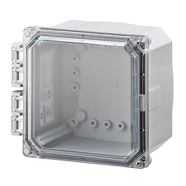 6X6X4 Premium Series Polycarbonate Enclosure with Hinge Clear Screw Cover