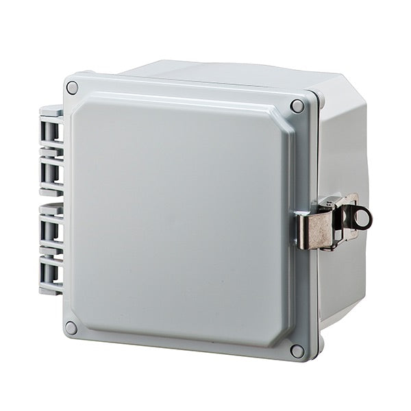 6X6X4 Premium Series Polycarbonate Enclosure with Hinge Opaque Locking Latch Cover