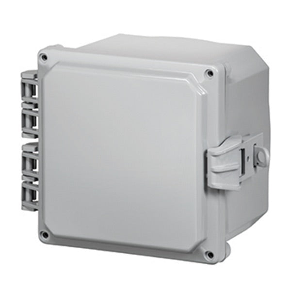 6X6X4 Premium Series Polycarbonate Enclosure with Hinge Opaque Non-Metallic Locking Latch Cover