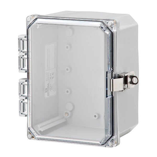 6X6X4 Premium Series Polycarbonate Enclosure with Hinge Clear Locking Latch Cover