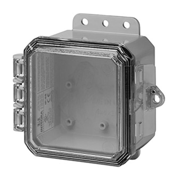 4X4X3 Impact Series Polycarbonate Enclosure With Integrated Locking Latch and Clear Cover