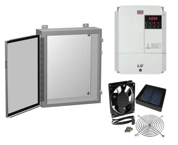 Hammond 1418 N4 Enclosure , LSIS S100 VFD and Filter Fan Kit