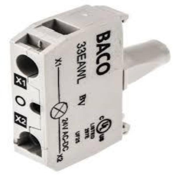 BACO Accessories - 22mm/30mm Plug-In Terminal LED Contact Block For Illuminated Pushbuttons
