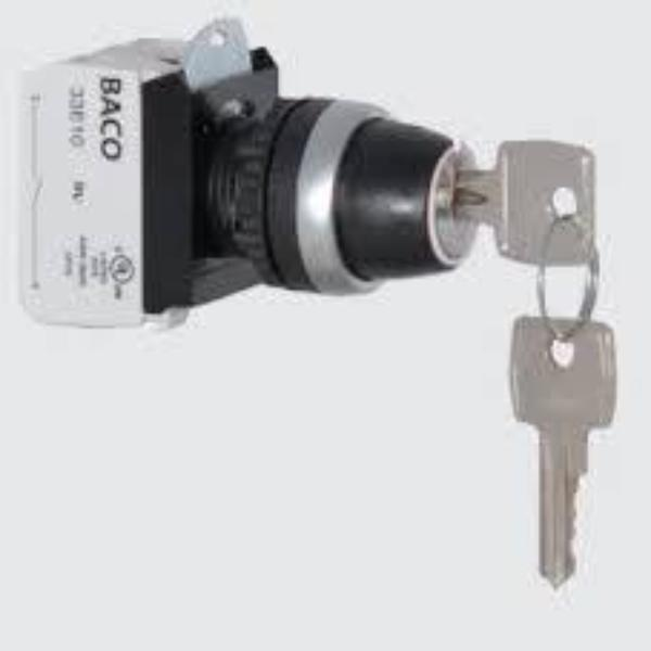 IP69K Rated 22mm 3-Position Key Switch Multi-Contact -HEAD AND CLIP