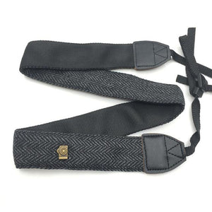 Vintage cotton and leather camera strap