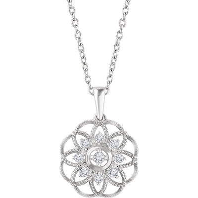 Diamond Granulated Filigree 14K Gold Necklace