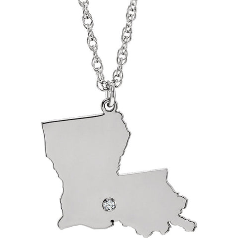 Sterling Silver State with Accented  Diamond  City Necklace