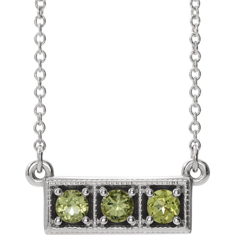 Three-Stone Granulated Bar Necklace