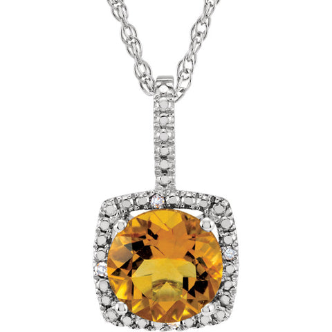 Accented Gemstone Halo-Style Necklace