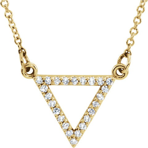"14K Gold 1/8 CTW Diamond Triangle 16"" Necklace"