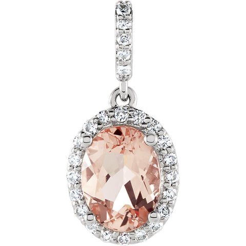 14K Gold Morganite & 1/6 CTW Diamond Halo-Style Pendant