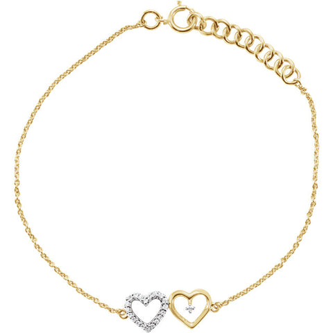 10K Gold & .07 CTW Double Heart Bracelet