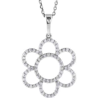 "14K White Gold 3/8 CTW Diamond Flower 16"" Necklace"