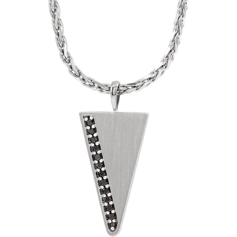 Men's Diamond Triangle Necklace - Sterling Silver