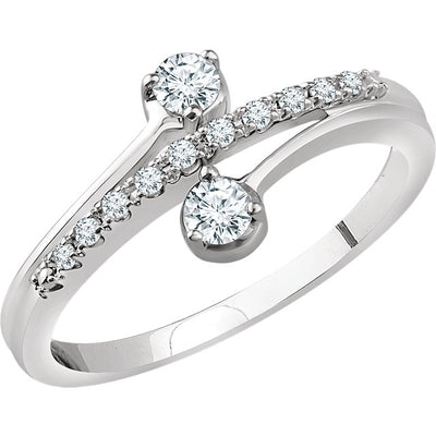 14K White Gold 1/4 CTW Two-Stone Diamond  Ring