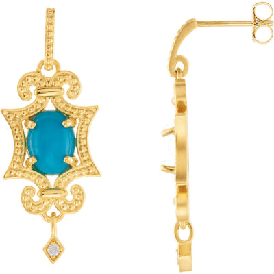 Gold and Turquoise Diamond Accented Granulated Earrings