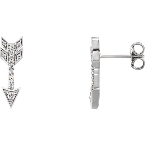 14K Gold & 1/6 CTW Diamond Arrow Earrings