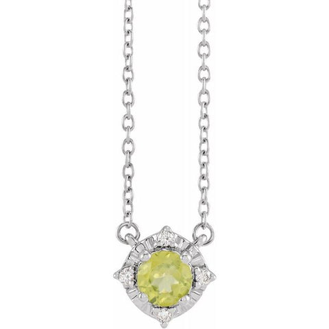 14K White Gold Birthstone Necklace - set with Peridot & .04 CTW Diamond.