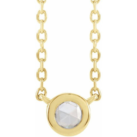 SOLITAIRE BEZEL-SET NECKLACE - 14K Yellow Gold and 1/10 CT Rose-Cut Diamond