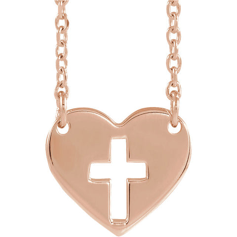 Pierced Cross Heart Necklace