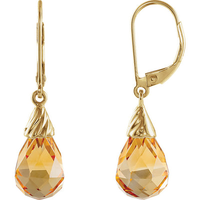 14K Yellow Gold Citrine Briolette Earrings
