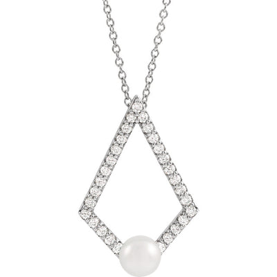 14K White Gold, Freshwater Cultured Pearl, & 1/4 CTW Diamond Geometric  Necklace - 16-18