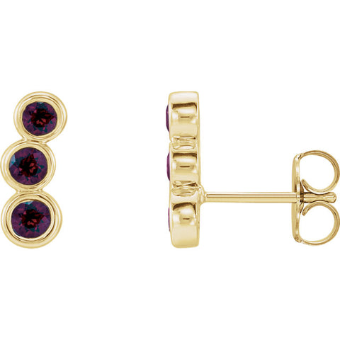 Gemstone Three-Stone Ear Climbers