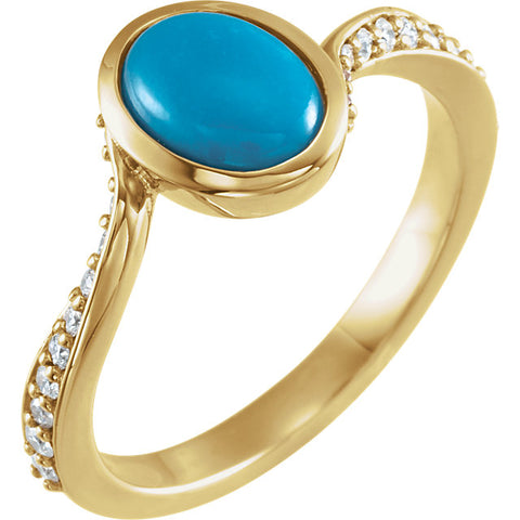 Bypass Ring - Turquoise & Diamond