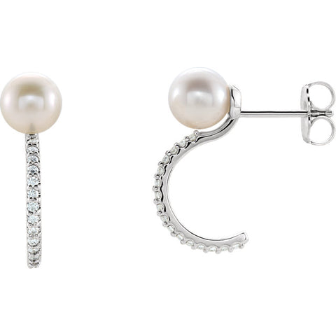 Accented Pearl J-Hoop Earrings
