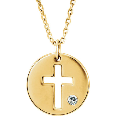 Pierced Cross Disc Necklace