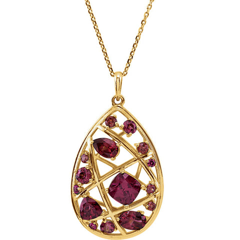 "14K Yellow Gold Rhodolite Garnet Nest Design 18"" Necklace"